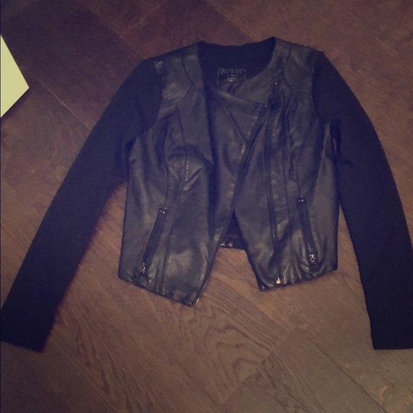 Guess Jackets & Blazers - Black mixed media jacket with pleather front